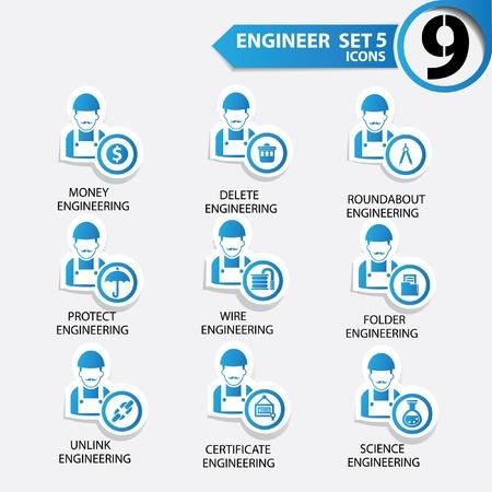 직업적인: 엔지니어링 아이콘 5, 블루 버전, 벡터를 설정합니다