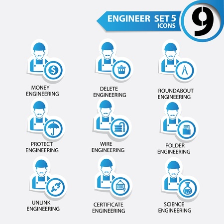 superintendent: Engineering icon set 5,Blue version,vector