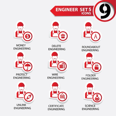 specialities: Engineering icon set 5,Red version,vector