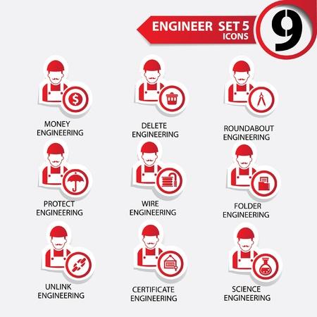 superintendent: Ingenier�a icon set 5, la versi�n roja, vector Vectores