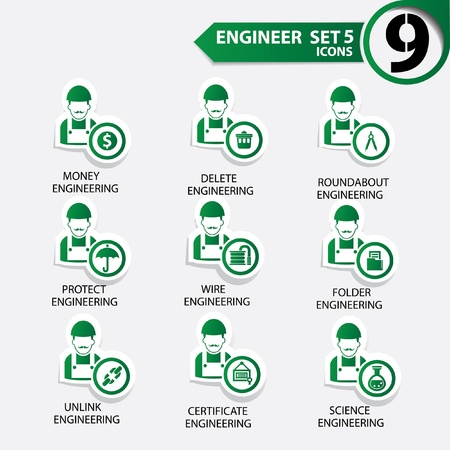 Engineering icon set 5,Green version,vector Stock Vector - 21283324
