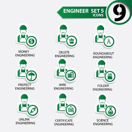 superintendent: Ingenier�a icono conjunto 5, versi�n verde, vector