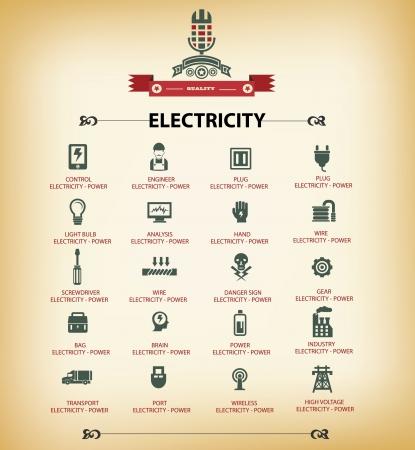 Electricité icônes, version rétro, vecteur Vecteurs