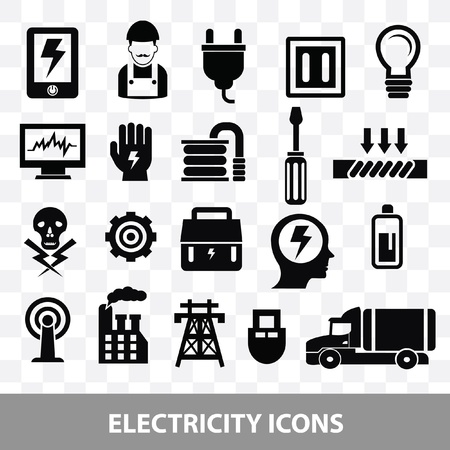 outlet: Electrician icons on blank background,vector