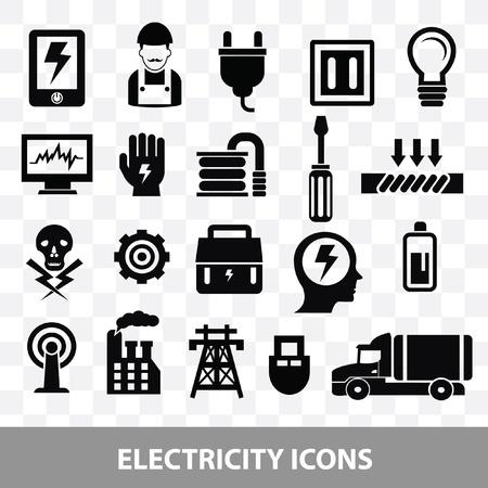 strom: Elektriker Symbole auf leere Hintergrund, Vektor