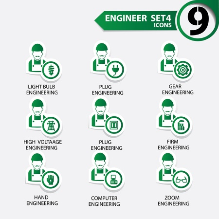 engineering icon: Engineering icon set 4,Green version,vector Illustration
