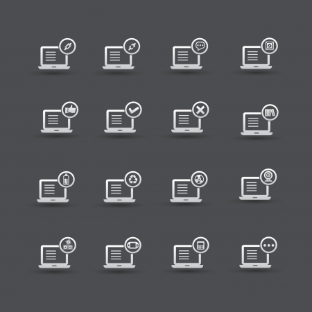 Computer,Social media icon set 2,vector Stock Vector - 21283373