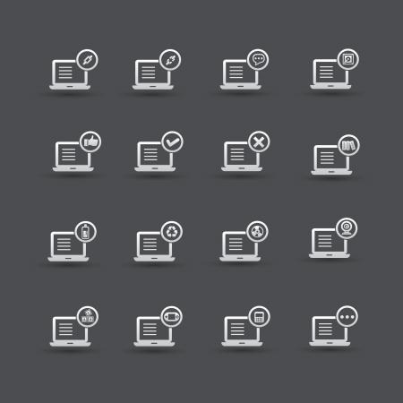 Computer,Social media icon set 2,vector Stock Vector - 21283373
