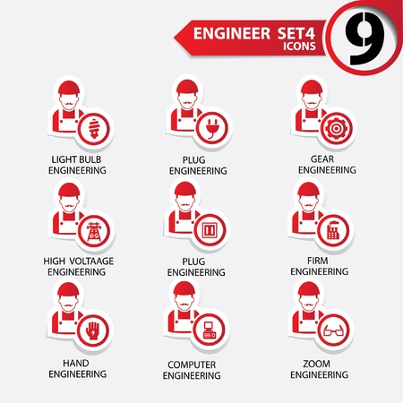 Engineering icon set 4,Red version,vector Vector