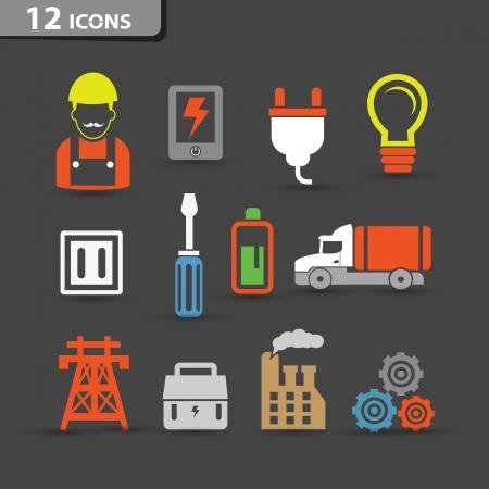 ahorro energetico: Electricidad, iconos vectoriales