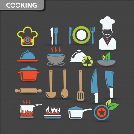 measuring spoon: Cooking icons,vector