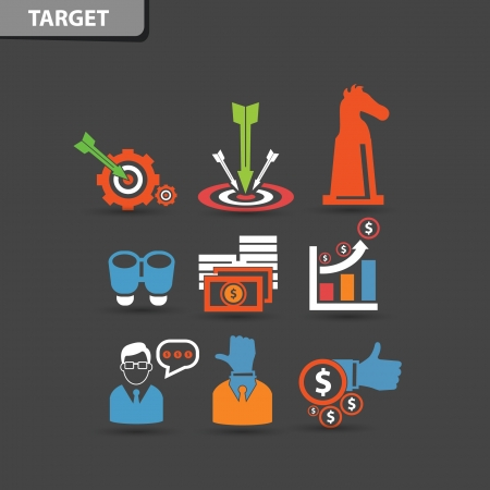 recharging: Target and business management concept symbol,vector Illustration