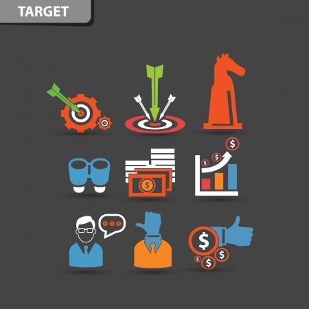 management concept: Target y de negocios s�mbolo concepto de gesti�n, vector