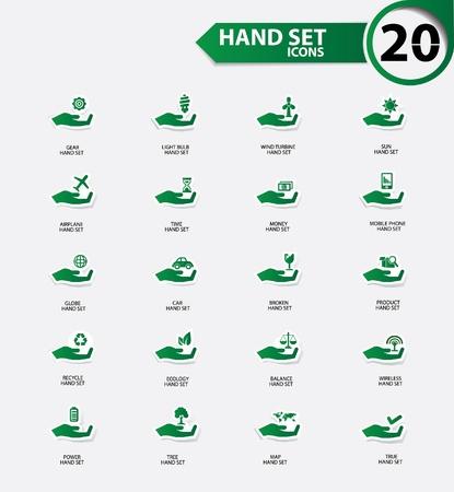 refinery engineer: Hand set icons,Green version,vector Illustration
