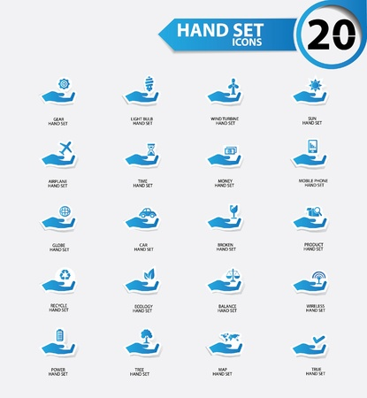 Hand set icons,Blue version,vector Vector
