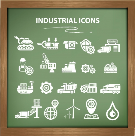 Industrial icons,Blackboard background version,vector Vector