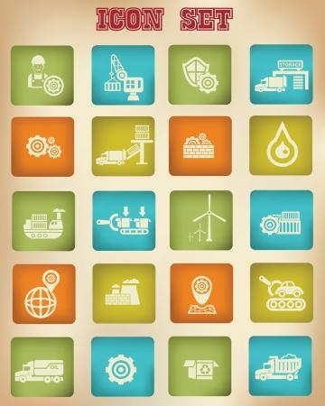 skid steer: Industry vintage icons,vector