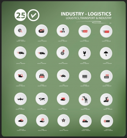 Transport and Logistics icons on blackboard background,vector Vector