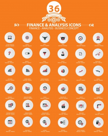Stock exchange and analysis icons,Orange background version,vector