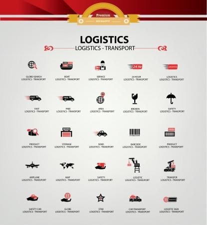 수송: 물류 및 교통 아이콘, 레드 버전, 벡터