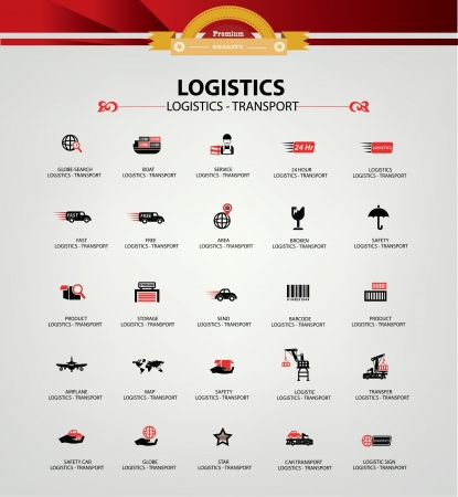 freight: Logistics and transport icons,Red version,vector