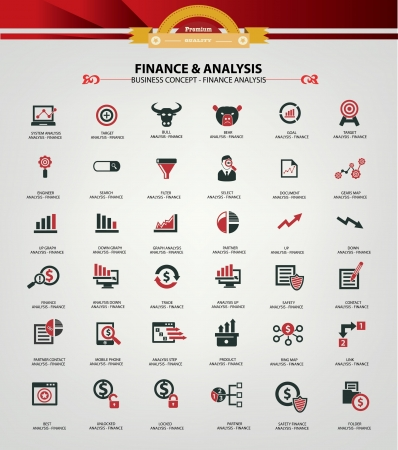 Stock exchange and analysis icons,Red version,vector