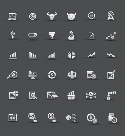 incorporation: Market,exchange and analysis icons,Black background version,vector