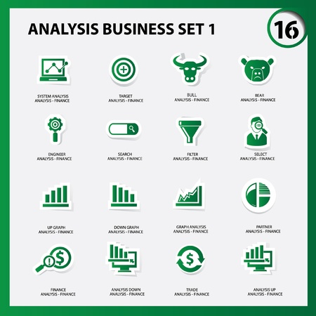 Finance and analysis icons,Green version,vector Vector