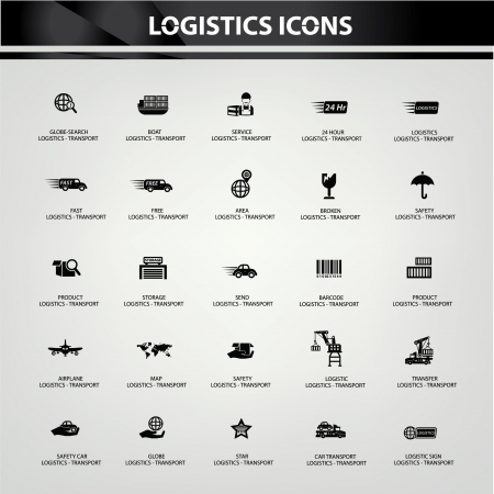 Logistics and transport icons,Black version,vector Stock Vector - 21283507