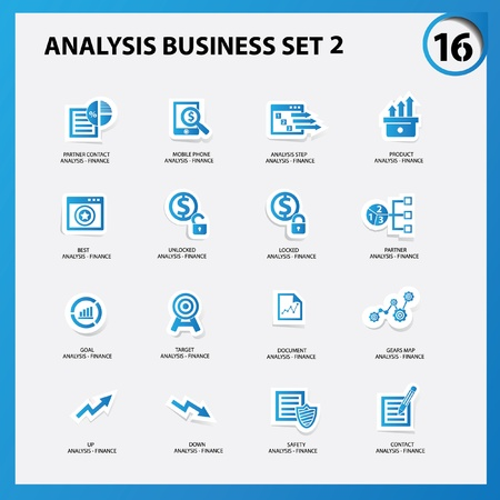 Business and analysis icon set 2,Blue version,vector Vector