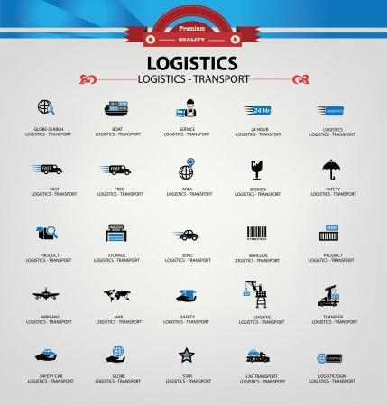Logística y transporte iconos, versión azul, vector