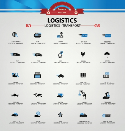 Logistiek en transport iconen, blauwe versie, vector