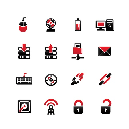 unlocked: Networking icons on white background,vector