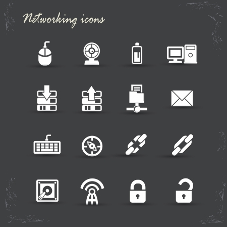 Networking icons on Grunge background,vector Stock Vector - 21395725
