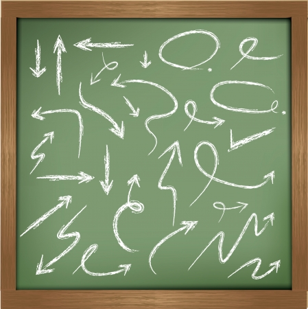 chalk drawing: Arrows drawing on blackboard background,vector Illustration