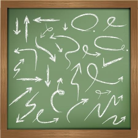 arrow wood: Flechas de dibujo en la pizarra de fondo, vector Vectores
