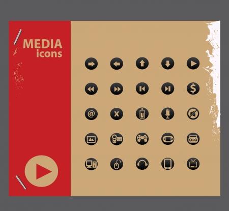 Media icons 1,vector Stock Vector - 21395767