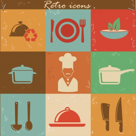 Food retro icons,vector Vector