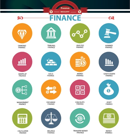 e auction: Finance icons,vector Illustration