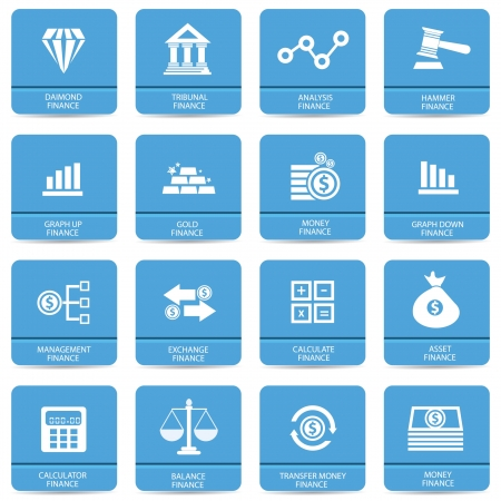 Finance icons,Blue buttons,vector