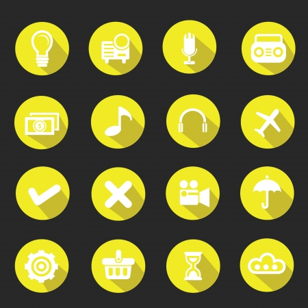 time sharing: Web icons,Yellow version vector
