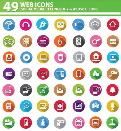 multimedia: Colorful Web icons,on white background,vector
