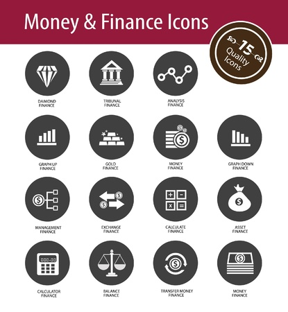 monetary: Money and Finance icons,vector Illustration