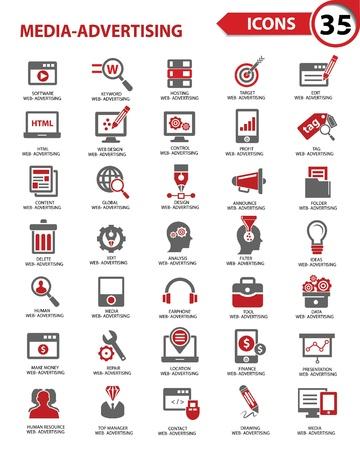 Set Media - icone pubblicitarie, vettore