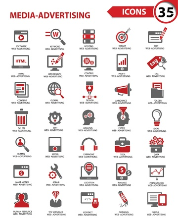 Stel Media - Reclame pictogrammen, vector Stock Illustratie