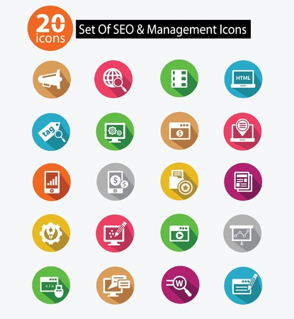 target business: 20 SEO   Web management icons,Colorful version,vector