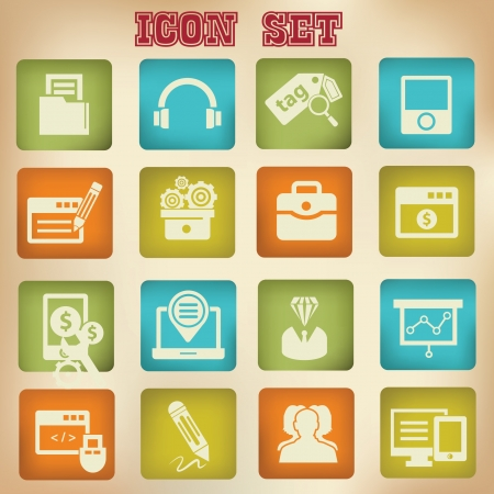 Vintage seo icons,version 1,vector Stock Vector - 21635470