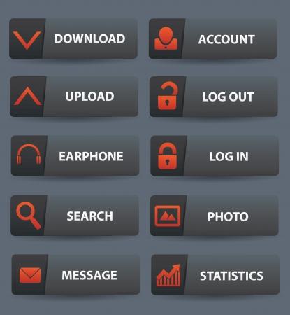 log out: Website buttons,vector