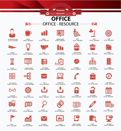 speech buble: Set of web icons for office business and communication,Red version ,vector