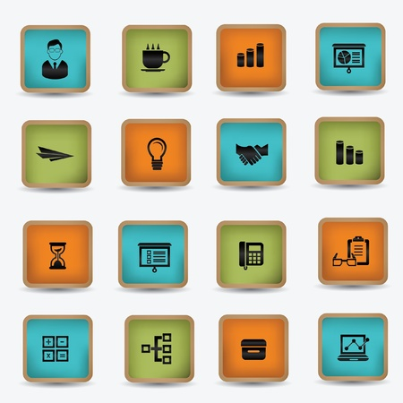 Business,office vintage icons,vector Stock Vector - 21395930